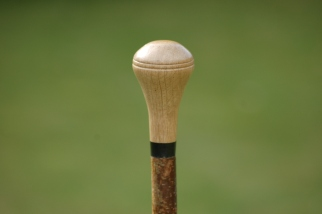 Red oak turned top knob stick with buffalo horn spacer