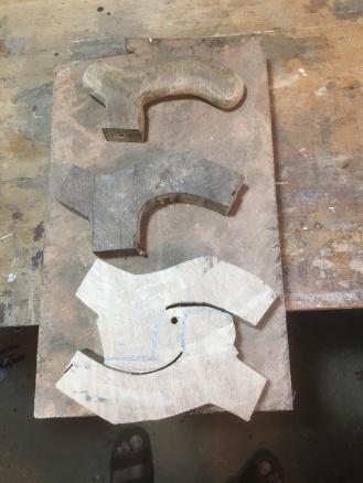 Blanks cut from a block of oak