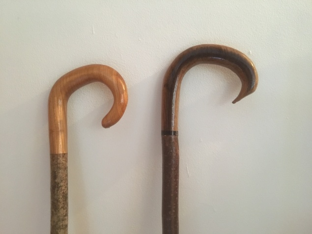The finished crook hadles mounted for a commission and now living with James